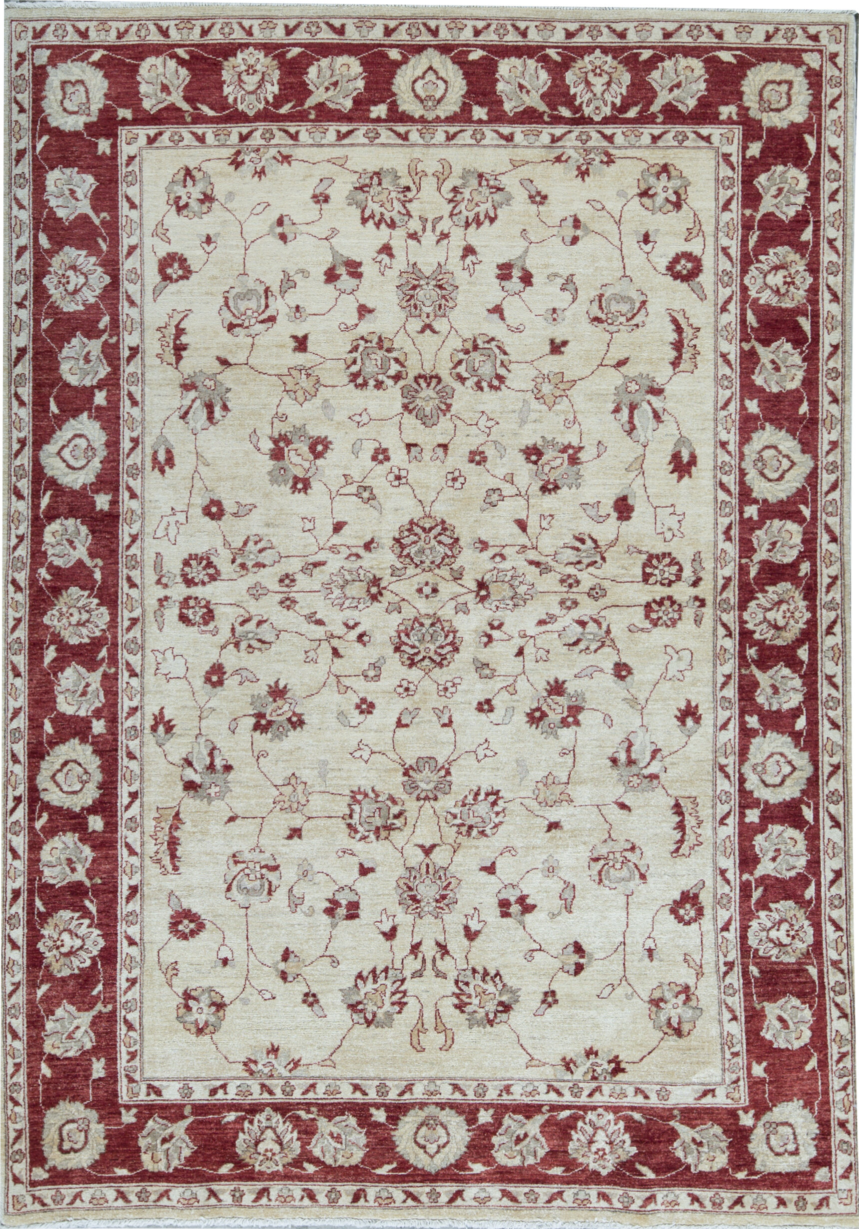 Bokara Rug Co Inc Zarbof Oriental Hand Knotted Wool Ivory Red Area Rug Wayfair