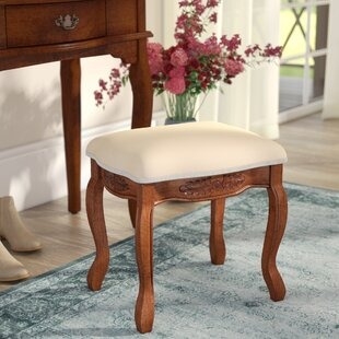 Three Posts Snowberry Hand Carved Cushioned Top Vanity Stool