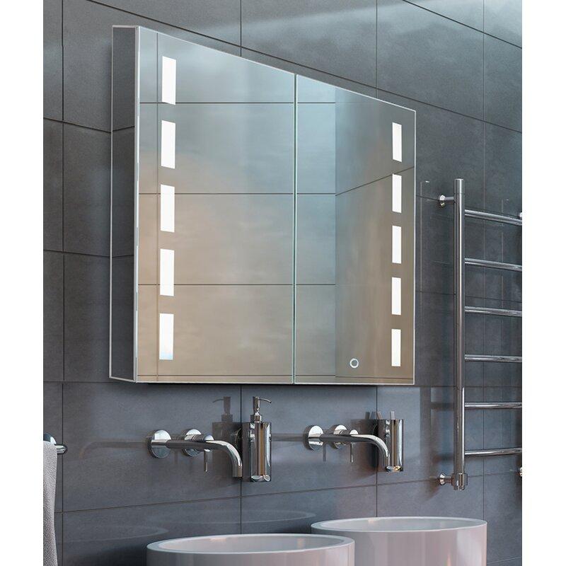 Orren Ellis Conde 30 X 30 Recessed Or Surface Mount Medicine Cabinet With 3 Adjustable Shelves And Led Lighting Reviews Wayfair