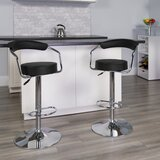 Damian Adjustable Height Swivel Bar Stool (Set of 2) by Wrought Studio™