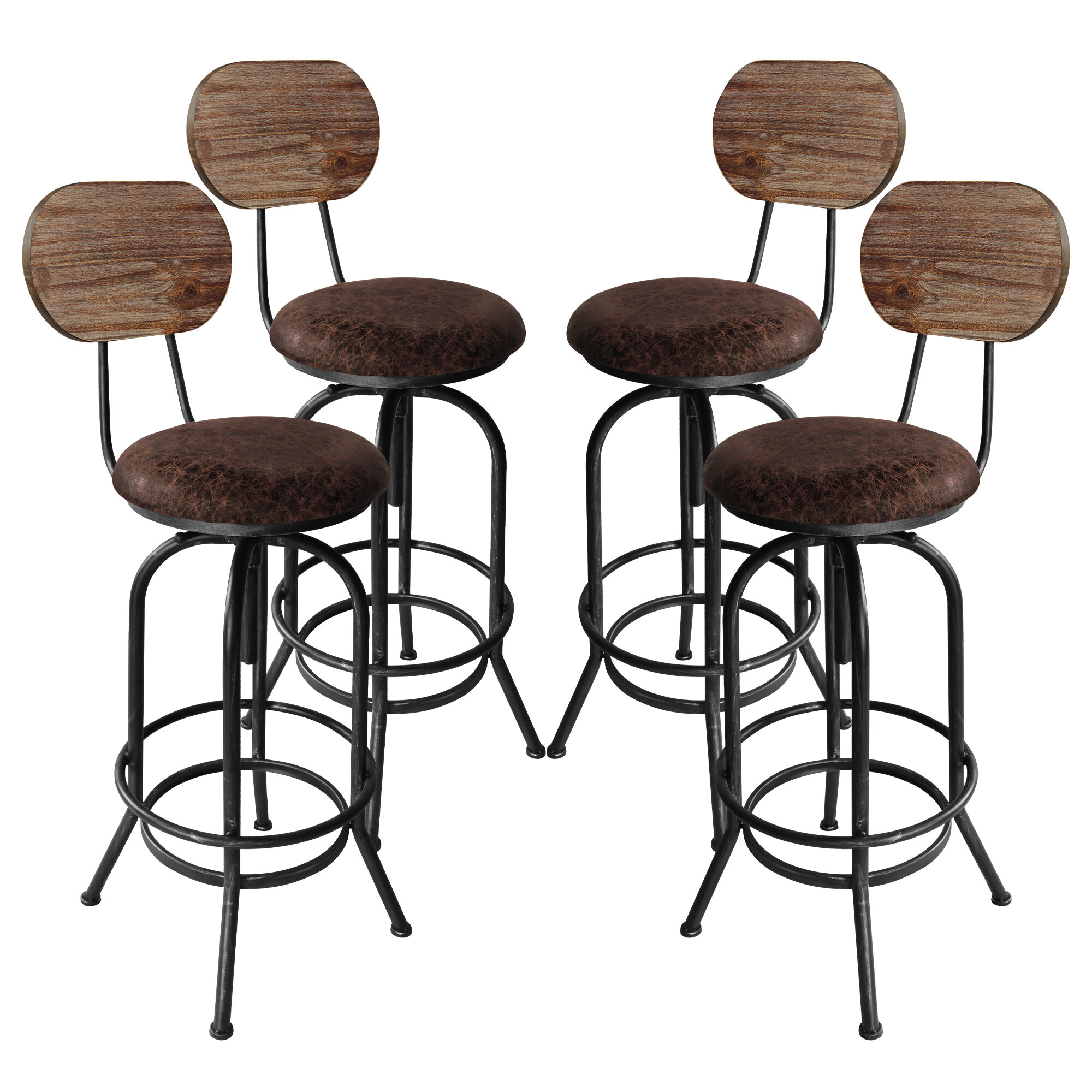 Poitras Adjustable Height Swivel Bar Stool - set of 8