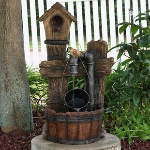 August Grove Belvedere Fiberglass Bird House Leaking Pipe Water Fountain with Light