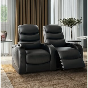 Orren Ellis Leather Home Theater Loveseat