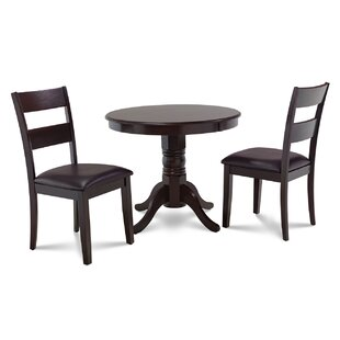 Cedarville 3 Piece Cappuccino Solid Wood Dining Set by Alcott Hill