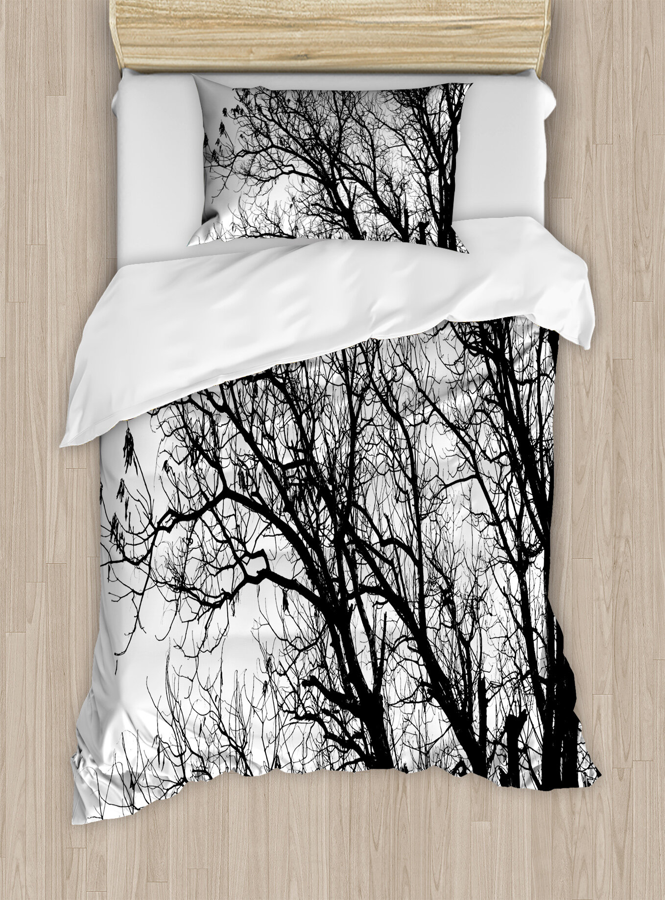 East Urban Home Nature Leafless Autumn Fall Tree Branches Tops Oak Forest Woodland Season Eco Theme Duvet Set Wayfair