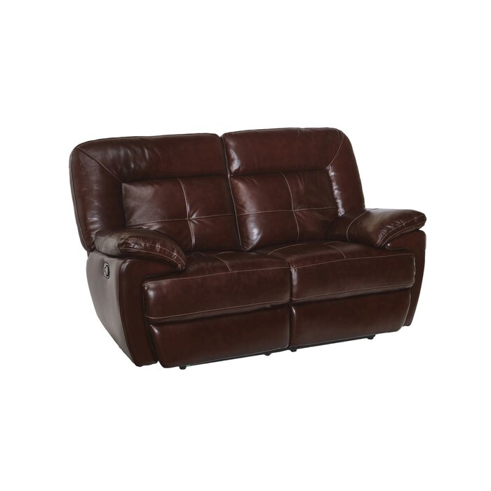Remarkable Duffett Leather Reclining Loveseat Pabps2019 Chair Design Images Pabps2019Com