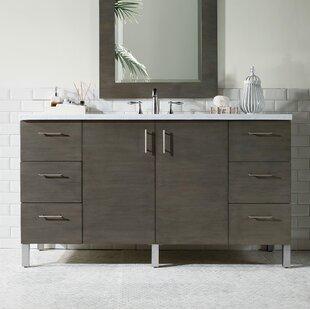 """Cordie 60"""" Single Silver Oak Marble Top Bathroom Vanity Set"""