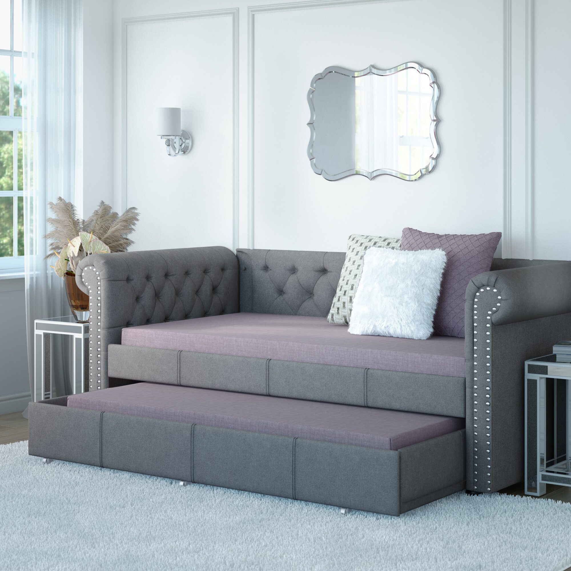 - House Of Hampton Mickel Modern And Contemporary Fabric Twin Daybed