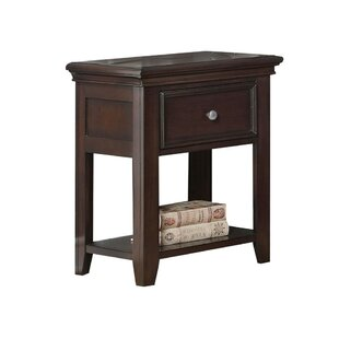 Batchelor Contemporary Wood and Metal 1 Drawer Nightstand