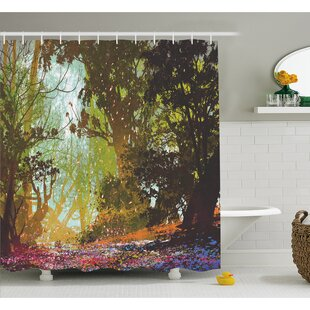 Natural Beauty at Park in Spring with Shadow Falling Leaves Flower Paint Shower Curtain Set