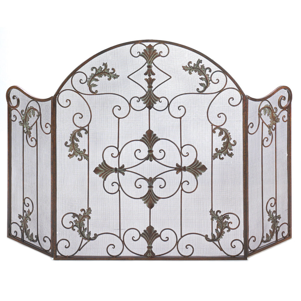 nursery vintage in safe cast folding iron antique screen cover fireplace screens