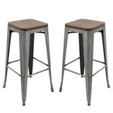 Saunders Brage Solid Wood 30 Bar Stool (Set of 2) by Williston Forge