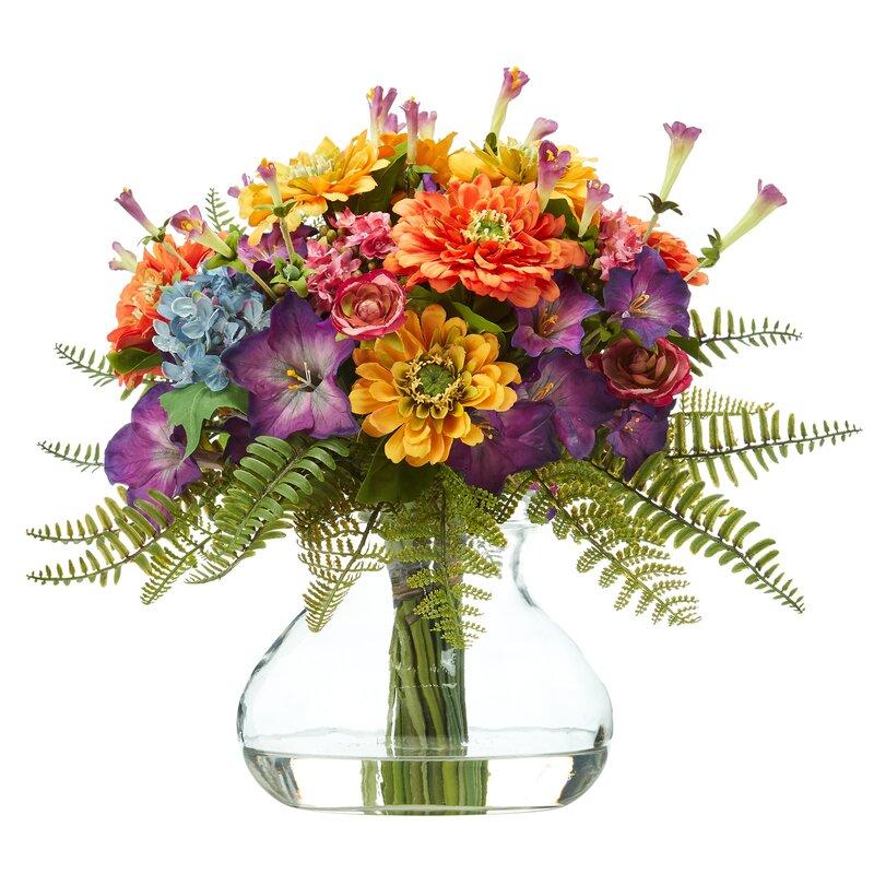 Alcott Hill Artificial Mixed Floral Arrangement In Vase Wayfair