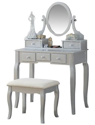 Zeke Wood Makeup Vanity Set with Mirror by Beachcrest Home