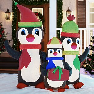 Christmas Inflatable Penguins Family with Gift