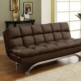 Victorine 71 Wide Faux Leather Armless Convertible Sofa by Winston Porter