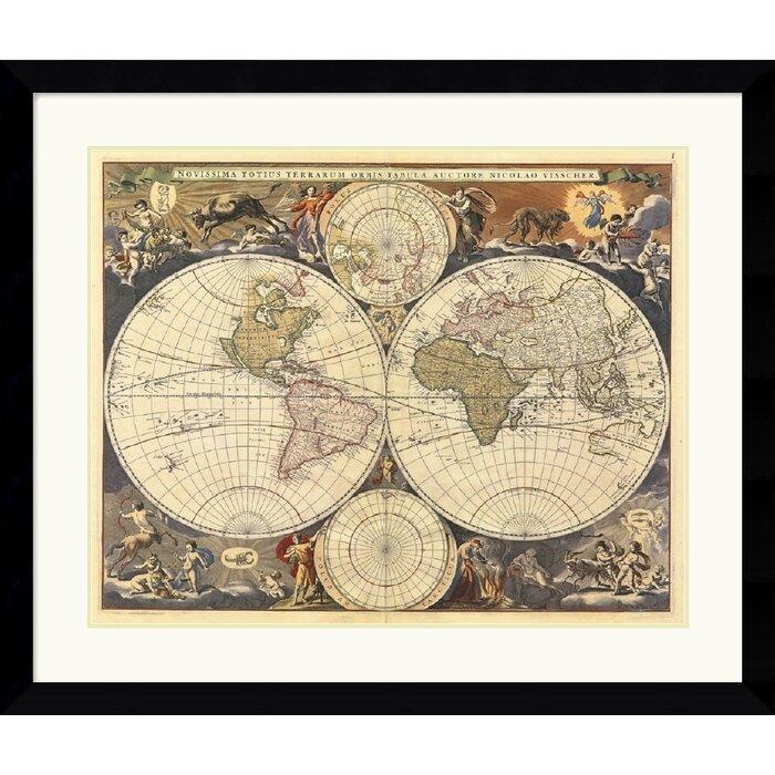 Amanti Art New World Map Th Century By Ria Visscher Framed - 17th century world map