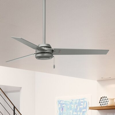 """52"""" Cassius 3 Blade Outdoor Ceiling Fan Finish: Matte Silver"""