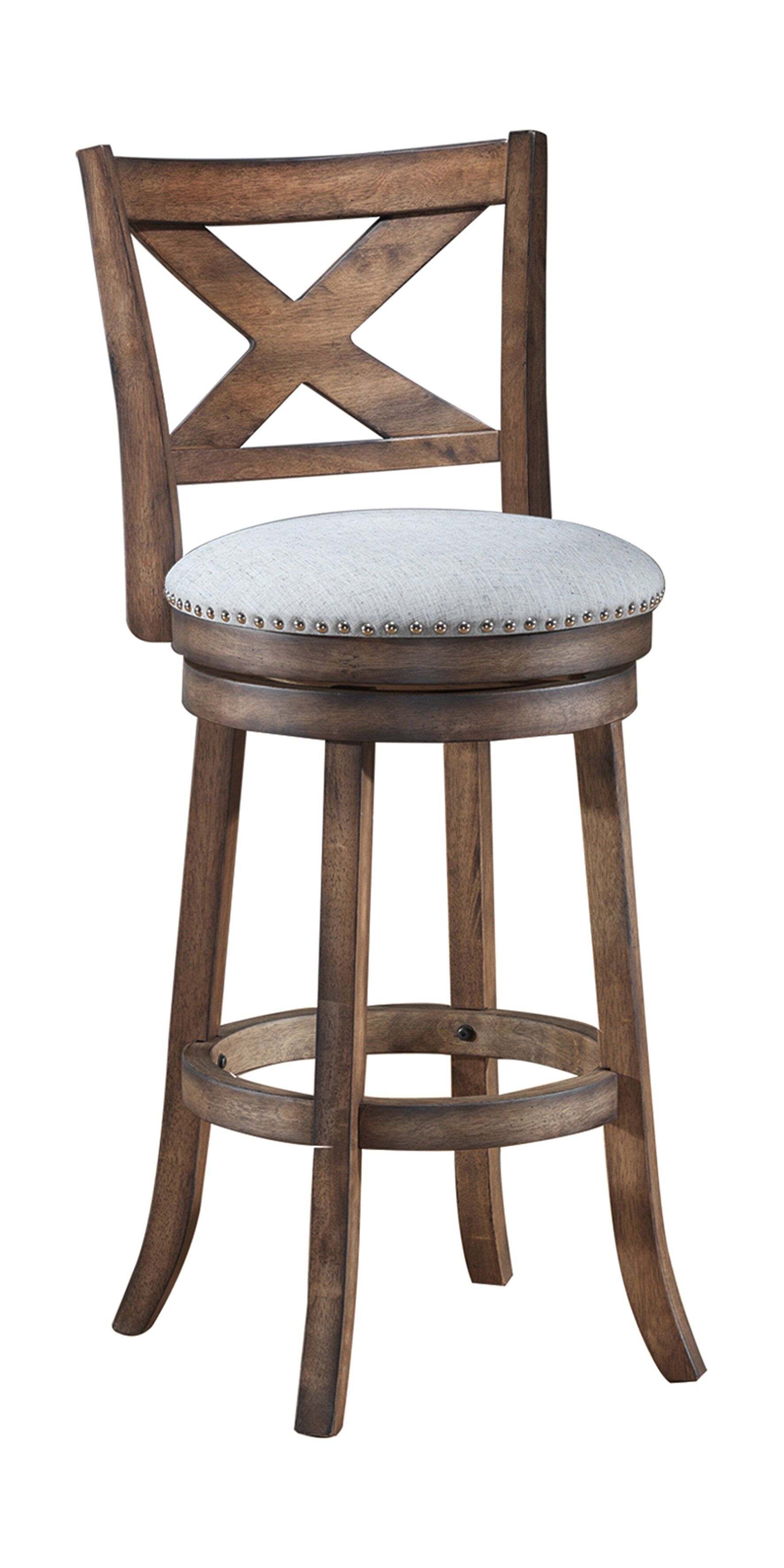 Gracie Oaks Mackin Wooden Bar Counter Swivel Stool