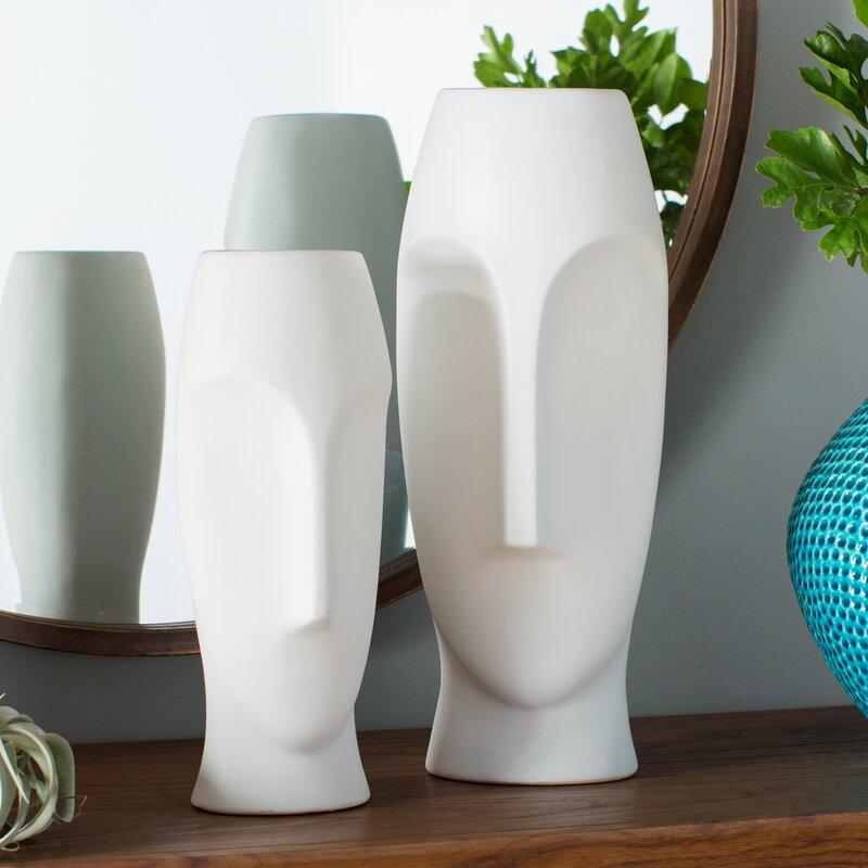 Wade Logan Traver 2 Piece Faces Ceramic Vase Set Reviews Wayfair