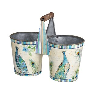 Roosevelt Peacock Design Twin Metal Plant Pot By Lily Manor