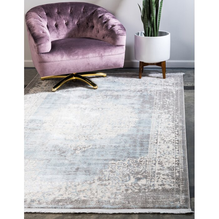Twila Gray Light Blue Ivory Area Rug