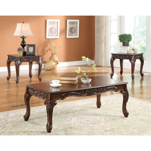 Zenia Wooden 3 Piece Coffee Table Set