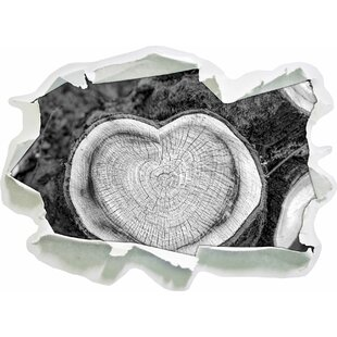 Heart-Shaped Growth Rings In A Tree Trunk Wall Sticker By East Urban Home