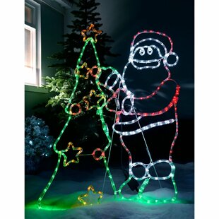 Pre-Lit Animated Santa And Tree Rope Lighted Display By The Seasonal Aisle