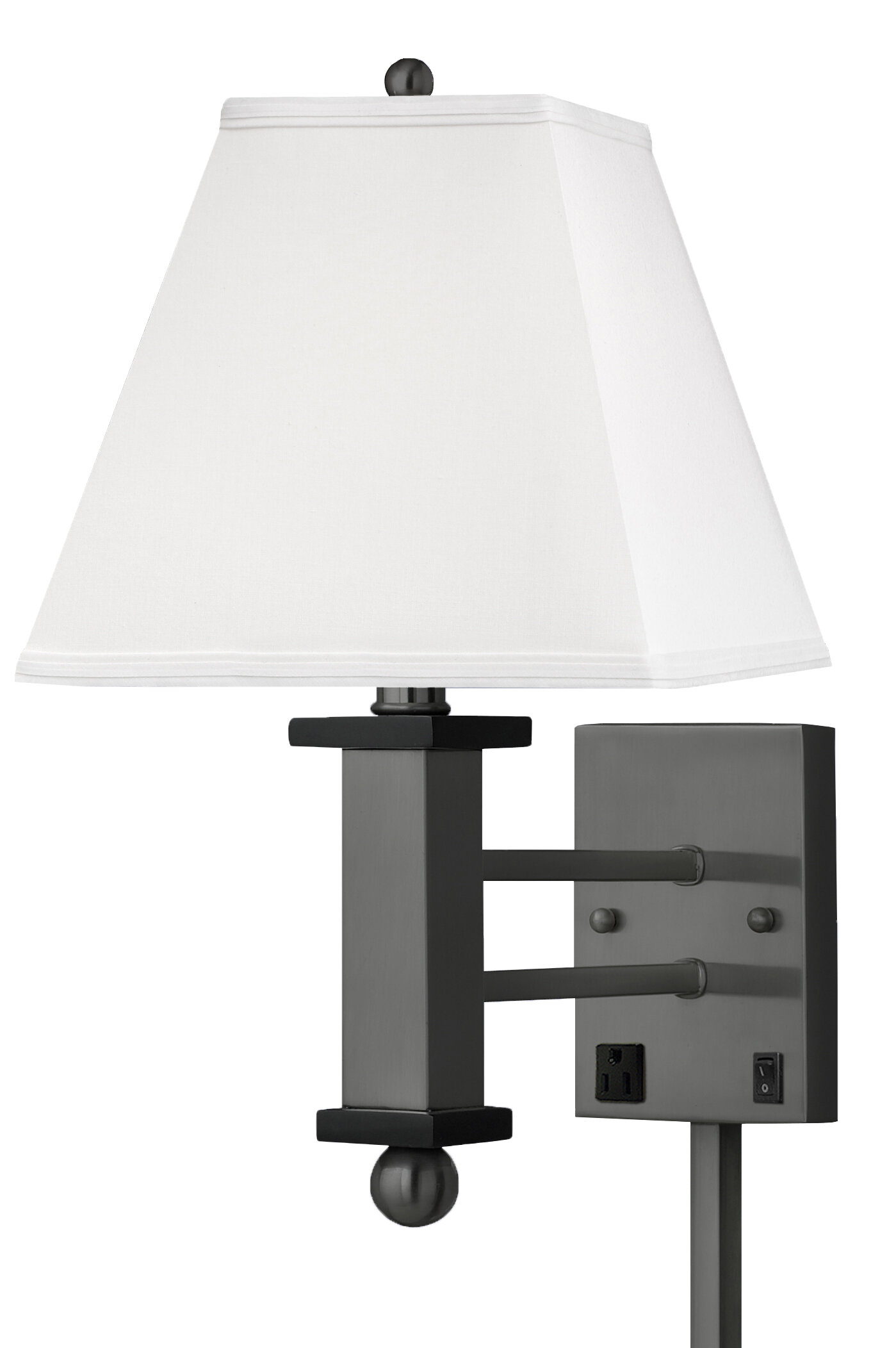 Medallion Lighting 1 Light Plug In Gunmetal With Black Accents Armed Sconce Wayfair