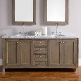Valladares 72 Double Ceramic Sink White Washed Walnut Bathroom Vanity Set by Brayden Studio