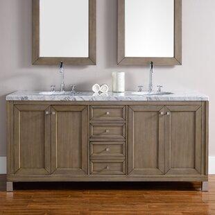 Valladares 72 Double White Washed Walnut Stone Top Bathroom Vanity Set by Brayden Studio