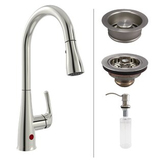 Keeney Manufacturing Company Premium Single Handle Touchless Kitchen Faucet with Strainer and Soap Dispenser