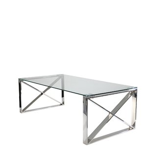 Stainless Steel and Glass Coffee Table