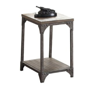 Branstetter Metal and Wood Rectangular End Table