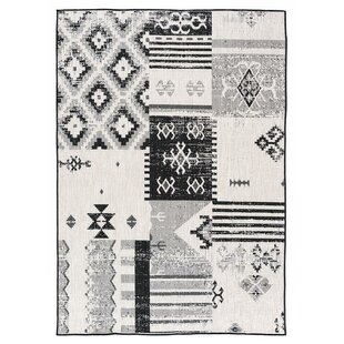 Affordable Tseng Reversible Black/White Indoor/Outdoor Area Rug ByMillwood Pines