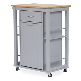 Highland Dunes Delmi Kitchen Cart with WoodenTop
