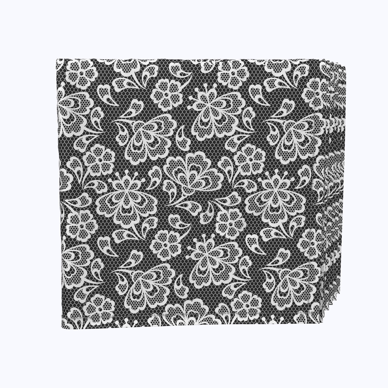 Fabric Textile Products Inc Napkin Set 100 Milliken Polyester Machine Washable Set Of 12 18x18 Black White Lace Doily Wayfair