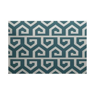 Whit Geometric Print Teal Indoor/Outdoor Area Rug