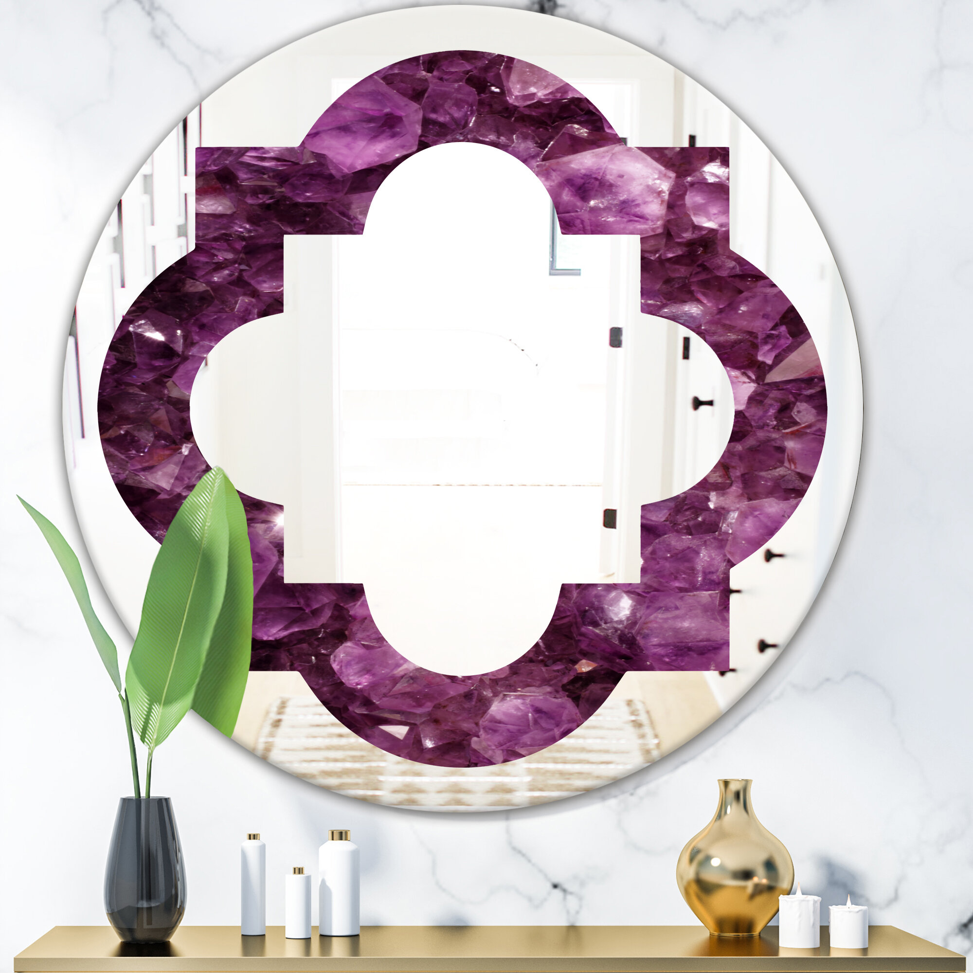 East Urban Home Quatrefoil Gems Eclectic Frameless Wall Mirror