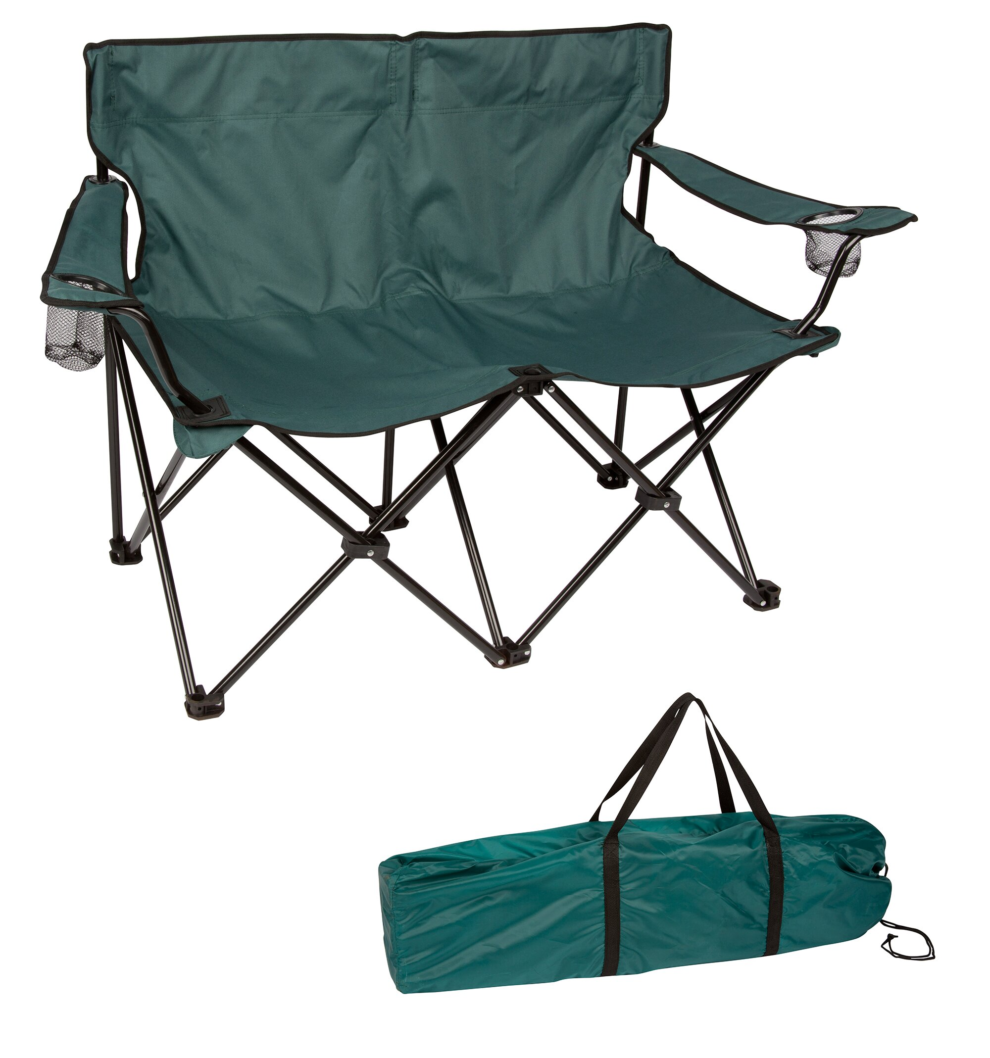 Portable Folding Camping Chair Heavy Duty Oversized LoveSeat Bench Lounge Seat
