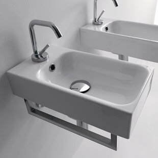 Compare & Buy Cento Ceramic 10 Wall Mount Bathroom Sink with Overflow By WS Bath Collections