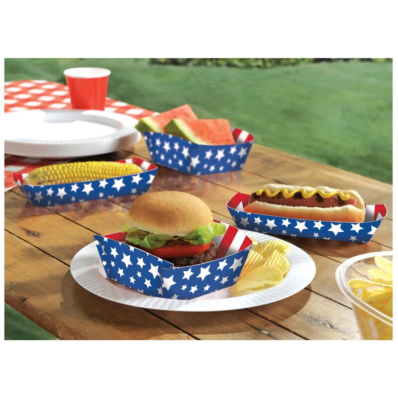 Patriotic Stars and Stripes Paper Food Tray