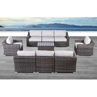 Huddleson 9 Piece Rattan Sectional Seating Group with Cushions