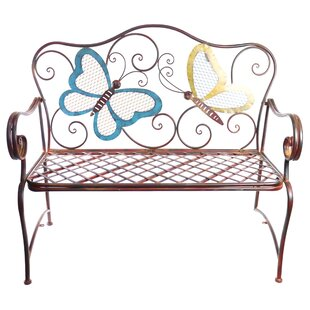 Caryn Colored Butterflies Metal Garden Bench