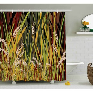 Bursten Nature Reeds Dried Leaves Wheat River Wild Plant Forest Farm Country Life Art Print Image Single Shower Curtain