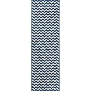 Order Burgess Chevron Dark Blue/White Area Rug ByEbern Designs