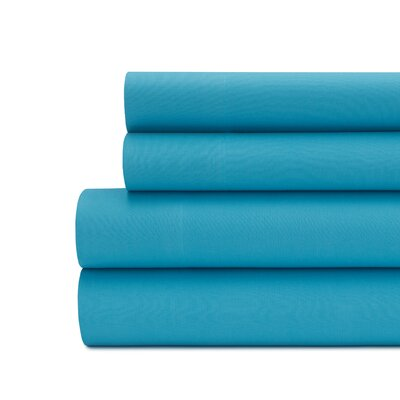 Briarwood Home 100% Cotton Solid Percale Sheet Set Size: California King, Color: Blue