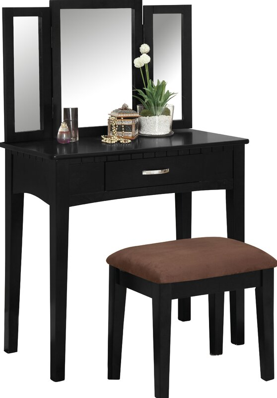 Luisa Vanity with Mirror and Stool Set