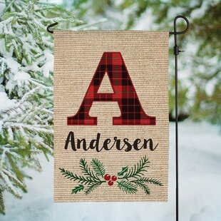 Christmas Plaid Personalized Burlap 18 x 12 in. Garden Flag